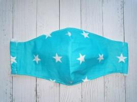 Дизайнерская маска для лица - Голубая с белыми звездочками